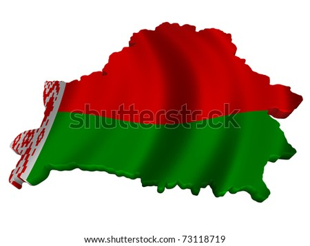 Flag and map of Belarus - stock photo