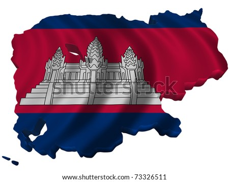 Flag and map of Cambodia - stock photo