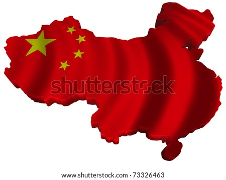 Flag and map of China - stock photo
