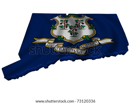 Flag and map of Connecticut - stock photo