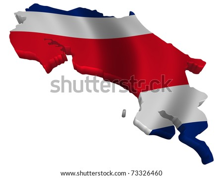 Flag and map of Costa Rica - stock photo