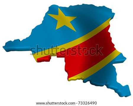 Flag and map of Democratic Republic of Congo - stock photo