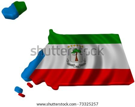 Flag and map of Equatorial Guinea - stock photo