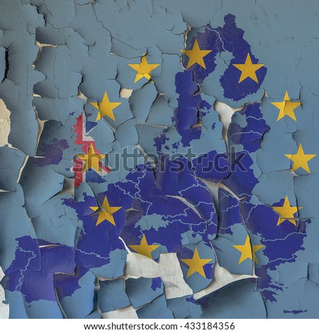 Flag and map of EU on a cracked paint wall. A symbol of leaving EU after the referendum that could erode fundamental EU liberties. - stock photo