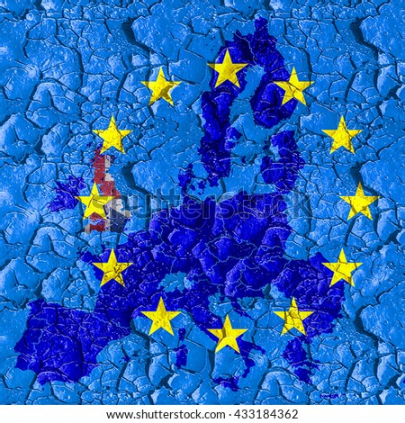 Flag and map of EU on a cracked surface. A symbol of leaving EU after the referendum that could erode fundamental EU liberties. - stock photo