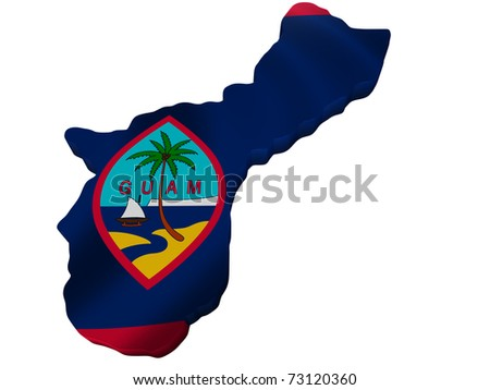 Flag and map of Guam - stock photo