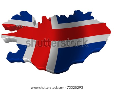 Flag and map of Iceland - stock photo