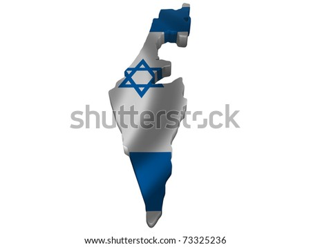 Flag and map of Israel - stock photo