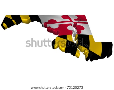 Flag and map of Maryland - stock photo