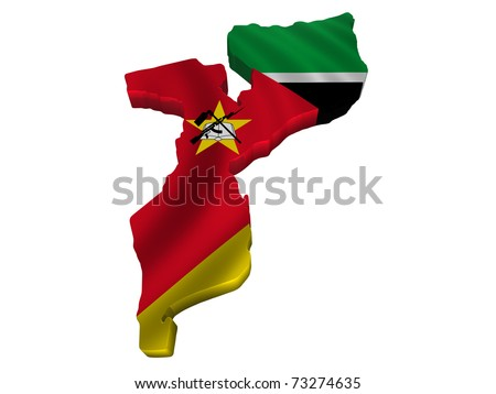 Flag and map of Mozambique - stock photo