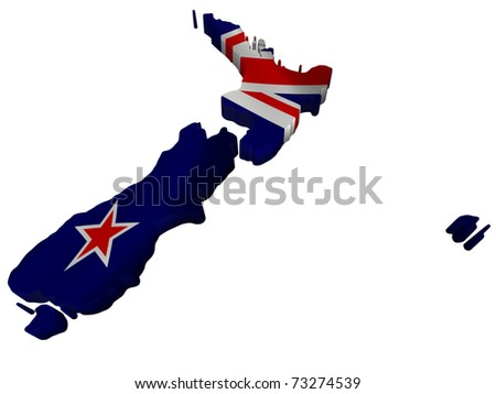 Flag and map of New Zealand - stock photo