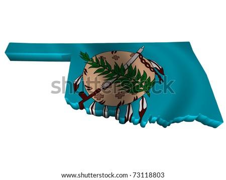 Flag and map of Oklahoma - stock photo