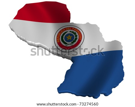 Flag and map of Paraguay - stock photo