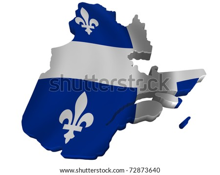 Flag and map of Quebec - stock photo