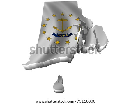 Flag and map of Rhode Island - stock photo