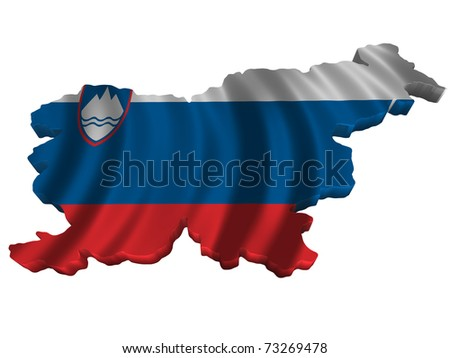 Flag and map of Slovenia - stock photo