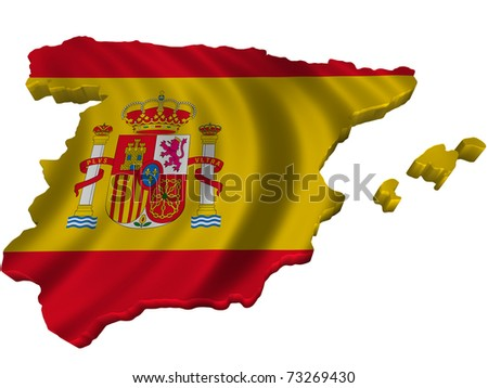 Flag and map of Spain - stock photo