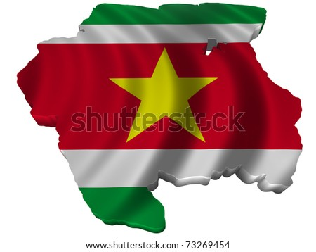 Flag and map of Suriname - stock photo