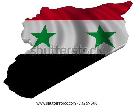 Flag and map of Syria - stock photo