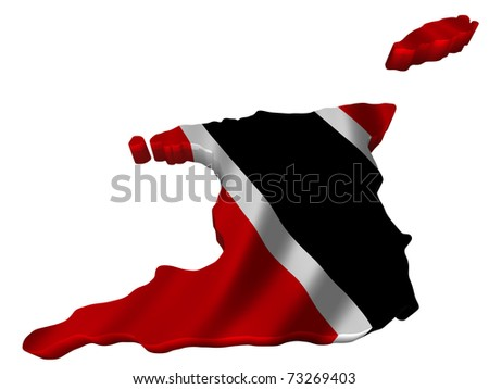 Flag and map of Trinidad and Tobago - stock photo