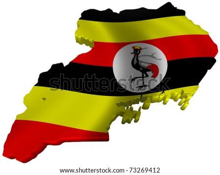 Flag and map of Uganda - stock photo
