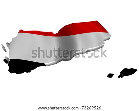 Flag and map of Yemen - stock photo