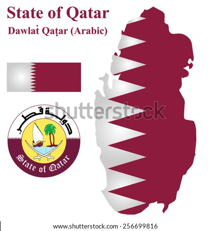 Flag and national coat of arms of the Arabian State of Qatar overlaid on detailed outline map isolated on white background  - stock photo