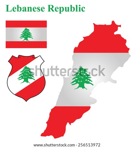 Flag and national coat of arms of the Lebanese Republic overlaid on detailed outline map isolated on white background  - stock photo