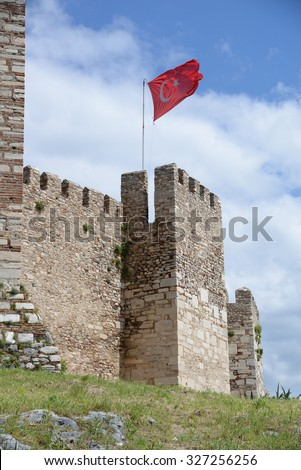 Flag at the citadel of Selcuk, Turkey