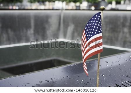 Flag at World Trade Center Memorial - stock photo