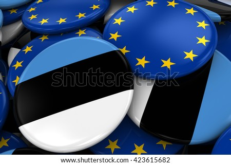 Flag Badges of Estonia and Europe in Pile - Concept image for Estonian and European Relations - 3D Illustration - stock photo