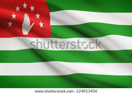 Flag blowing in the wind series - Abkhazia - stock photo