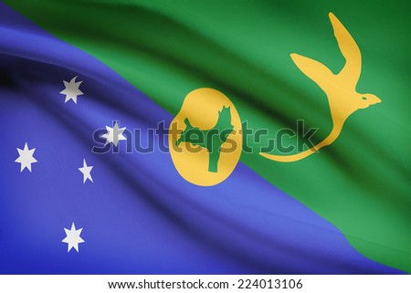 Flag blowing in the wind series - Christmas Island - stock photo