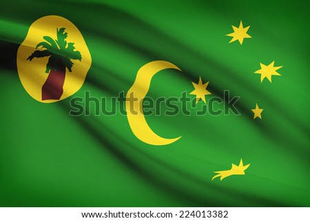 Flag blowing in the wind series - Cocos (Keeling) Islands - stock photo