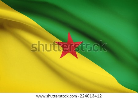 Flag blowing in the wind series - French Guiana - stock photo