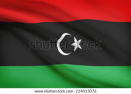 Flag blowing in the wind series - Libya - stock photo