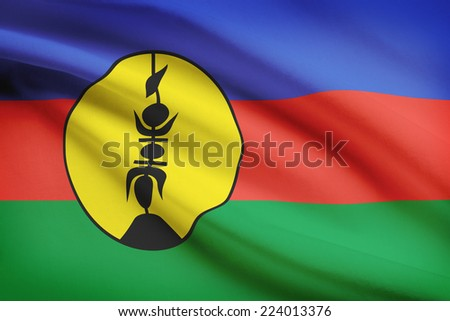 Flag blowing in the wind series - New Caledonia - stock photo