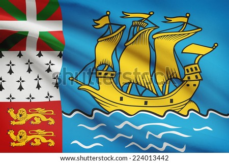 Flag blowing in the wind series - Saint-Pierre and Miquelon - stock photo