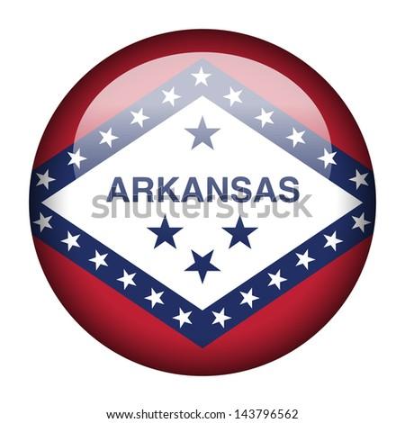 Flag button illustration - Arkansas - stock photo