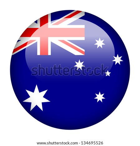 Flag button illustration - Australia - stock photo