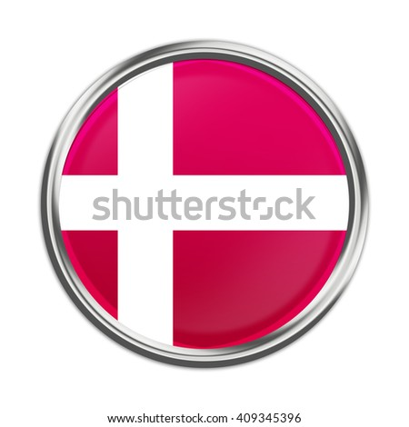 Flag button illustration - Denmark. - stock photo