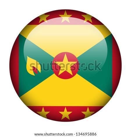 Flag button illustration - Grenada - stock photo