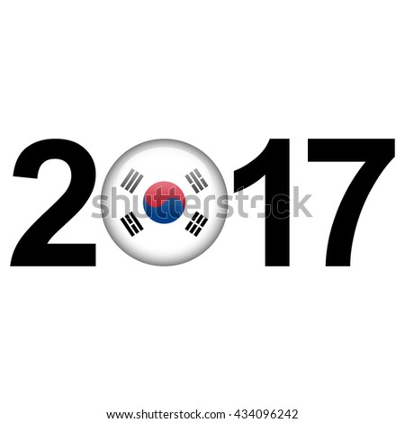 Flag button illustration with year - South Korea - stock photo