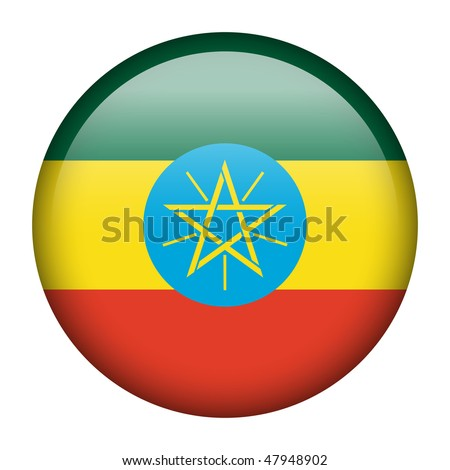Flag button series of all sovereign countries - Ethiopia - stock photo