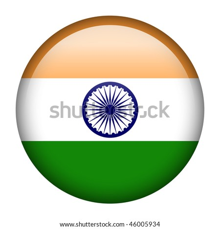 Flag button series of all sovereign countries - India - stock photo