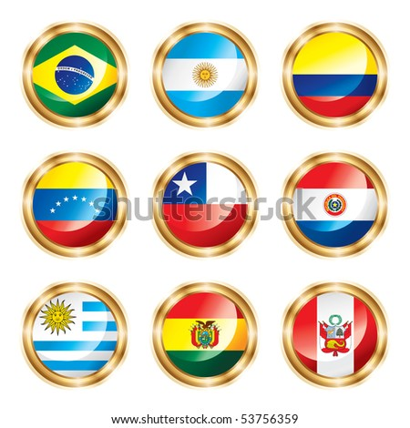 Flag buttons South America.  JPEG version.