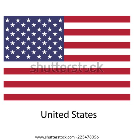 Flag  country  united states of america.  illustration.  Exact colors.  - stock photo