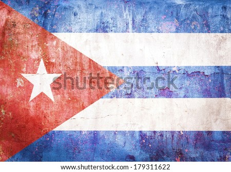 flag Cuba grunge vintage retro style - stock photo