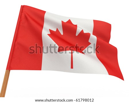 flag fluttering in the wind. Canada. 3d - stock photo