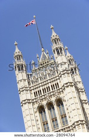 Flag Flying From Westminster Abbey, London, England - stock photo